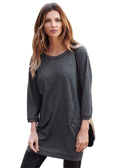 French Terry Zip Pocket Tunic | Tops | Ellos®