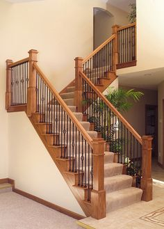 LJSmith - Your place for all of your Newel, Rail, Railing, Staircase, Stairs and Spindle needs! Wood Railings For Stairs, Stair Railing Design, Iron Stair Railing, Railing Ideas, Iron Balusters, Staircase Ideas, Banisters, Foyers, Staircase Remodel