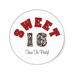 #Red #White #Zebra #Sweet #16 #Party #Stickers