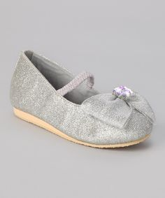 Look at this Fairy Dreams Silver Crystal Bow Flat on #zulily today!