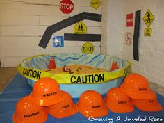 Play~time- turning a plastic pool into a work zone with sand or pebbles and matchbox cars etc. Awesome!