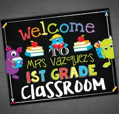 Welcome To My Class Sign - Teacher Chalkboard Classroom Monster Theme - Back To School - First Day Of Class - 1st - Printable - 8x10 - 16x20