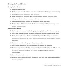 ESL Speaking Activity: Dating Do's and Don'ts