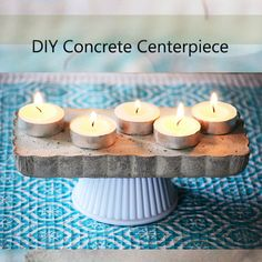 DIY Concrete Centerpiece with Changeable Base.  Tutorial.