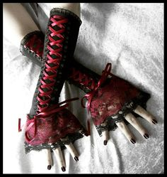 Black Red Lace Gloves $34.00
