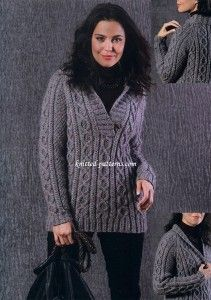 Free knitting pattern for shawl collar cable pullover.