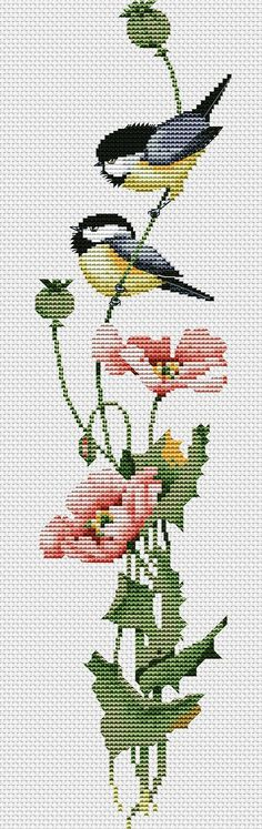 Bird chickadee cross stitch.