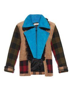 Preen By Thornton Bregazzi Lori sheepskin and check wool coat
