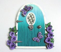 Turquoise Ombre Fairy Door with Purple Roses by PatsParaphernalia, £14.00