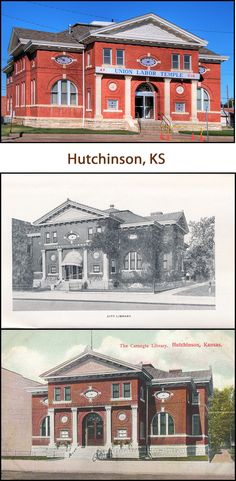 """No longer a library, it is now an office for the AFL-CIO, which they have placed a garish, plastic sign where the words """"PUBLIC LIBRARY"""" were inscribed in relief. Shame on them for not maintaining some semblance of respect for history. Two vintage postcards show earlier views.  FACTS: Hutchinson, Kansas (Reno County); Built 1902; Funded $32,000; Latitude: 38,3.4882N; Longitude: 97,55.9218W"""