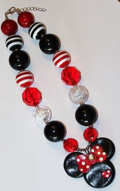 Mickey Mouse Red Polka Dot Chunky Big Beads Bubblegum Beads Necklace