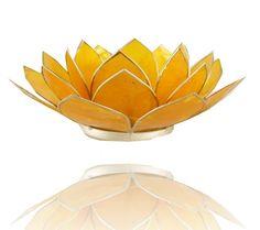 Lotus sfeerlicht geel 3e chakra zilverrand - 13.5 cm - korting -