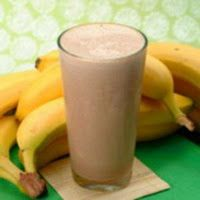 Breakfast Smoothie! 1 frozen banana, 2/3 cup almond or rice milk, 2 tablespoons peanut butter, 1 tablespoon honey and a few ice cubes!