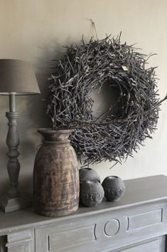 Dark Mori - Ladies of a grim forest Rustic Charm, Rustic Decor, Twig Wreath, Wabi Sabi, Shades Of Grey, Home And Living, Brown And Grey, Sweet Home, Shabby Chic