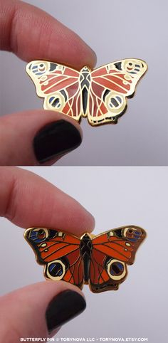 If youre a fan of our fluttery friends, this pretty peacock butterfly pin is for you.  This is a 1.25 brass cloisonne pin with polished gold plating and color enamel. It features a colorful peacock butterfly, hailing from Europe and Asia. It can be clipped onto sweaters, backpacks, purses, or wallets. It has one post with butterfly clasp backings, and will safely stay where it is pinned.  The artwork is original, designed and illustrated by Tory Novikova. The copyright on the pin design…