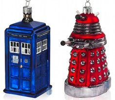 christmas tree ornaments.  i don't know how comfortable i'd feel with a dalek on my tree, but the tardis is really cute