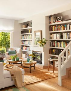 Same living room, different view. Built-in bookcases. House of Turquoise. Living Room Shelves, Home Living Room, Living Room Decor, Living Room Turquoise, House Of Turquoise, Sweet Home, Home Interior, Interior Design, Home Libraries
