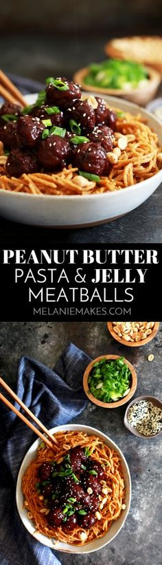 These four ingredient Peanut Butter Pasta and Jelly Meatballs are perfect for lunch boxes or a fun and quick weeknight meal.  Garnished with green onions, peanuts and sesame seeds, this recipe packs a flavorful punch in just 20 minutes. #sponsored