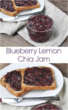 Blueberry Lemon Chia Jam. No refined sugar and 100% real fruit and real food goodness in this jam that's so quick and easy to make! Only a handful of ingredients.