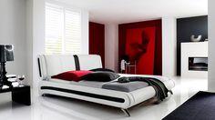 "Modernes Polsterbett ""Menton"" mit Kunstlederbezug in Weiß & Schwarz #Bed"