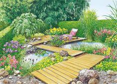 Gartenteich mit Holzsteg