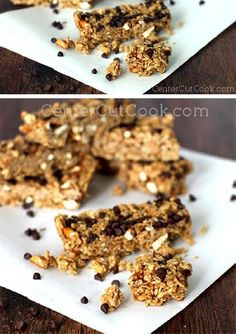 Forget the boxed version, these homemade GRANOLA BARS are easy and far superior with CHOCOLATE CHIPS, PEANUT BUTTER, and pretzels for a good crunch!