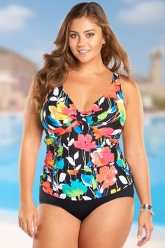 5a2044a164 Anne Cole Growing Floral Underwire Tankini Top-20108-multi Plus Size  Swimsuits