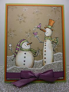 Love the glitter paper for snow...and the craft paper bkgrnd as well as the non traditional colors for a winter card