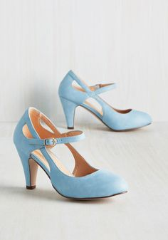 Fountain of Truth Heel in Dusty Blue - Blue, Solid, Cutout, Wedding, Work, Daytime Party, Graduation, Bridesmaid, Wedding Guest, Vintage Inspired, 50s, Pastel, Minimal, Darling, Summer, Good, Mary Jane, Variation, Blue, Pastel, Mid, Faux Leather