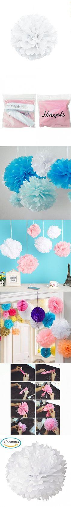 Hmxpls 10pcs Tissue Paper Pom-poms Flower Ball Wedding Party Outdoor Decoration (White)