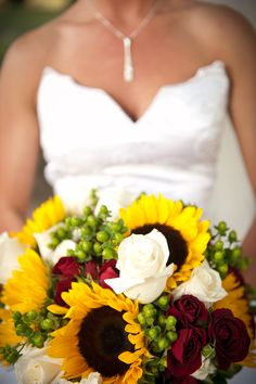 sunflower & rose wedding bouquet but with orange spray roses instead of the burgundy @Heather Creswell Mennen