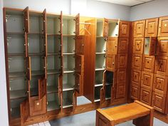 Wood lockers for sale at Big Fitness. Lockers For Sale, Used Lockers, Fitness Stores, No Equipment Workout, Locker Storage, Doors, Cabinet, Furniture, Big
