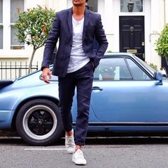 #navy suit white tee and sneakers by @louisnicolasdarbon [ http://ift.tt/1f8LY65 ]