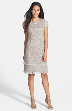 Alex Evenings Tiered Lace Sheath Dress (Regular & Petite) available at #Nordstrom
