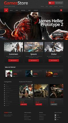 Take a closer look at this Games Store Jigoshop Theme ( and you might fall in love with it. Clean, professional and simple design. Best Website Templates, Template Site, Website Sample, Simple Web Design, Slider Images, Wordpress Template, Marketing, Web Design Inspiration, Ui Design