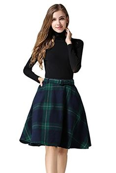Women's Weekend Skirts - Tanming Womens High Waisted Wool Check Print Plaid Aline Skirt -- More info could be found at the image url.