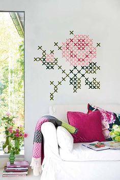 Washi tape is an easy way to add colour and interest to so many items. Use washi tape to make an imaginative headboard, use it to edge a shelf, or use washi tape to create wall murals. there are so many uses for this versatile craft product. Cute Diy Crafts, Cross Stitching, Cross Stitch Embroidery, Cross Stitch Designs, Cross Stitch Patterns, Washi Tape Wall, Washi Tapes, Hand Painted Wallpaper, Cross Stitch Flowers