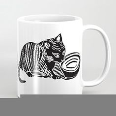 Funny Coffee Mug Cat Drinking Milk Printmaking Art Mug 11 OZ ** Special cat product just for you. See it now! : Cat mug