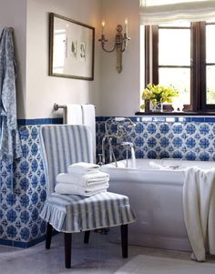 Designer Joe Nye, blue and white Portuguese glazed tiles--the tiles I want for my kitchen backsplash