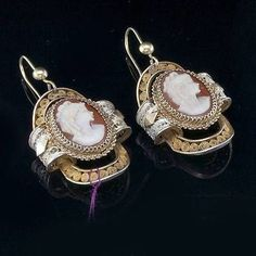 ANTIQUE VICTORIAN CARVED CAMEO VERMEIL FILIGREE EARRINGS