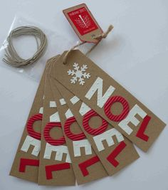 Set of 5 Handcrafted Snowflake Noel Letter Brown Card Gift Tags 14x4cm £3.00 www.folksy.com/shops/lnedesigns
