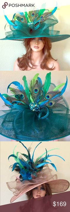 Turquoise Wide Brim Kentucky Derby Hat Turquoise or taupe base with feathers of your choice Jenifer Buckley Hats Accessories Hats