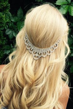 Wedding hair jewelry, beach Hair chain accessory, bridal hair chain, crystal jewels and silver,  hippie wedding hair piece. beach wedding