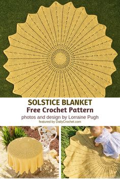 The snuggle is real with this sunflower blanket! A classic sunflower shaped blanket free pattern which you can make in any size. Crochet Blanket Patterns, Baby Blanket Crochet, Crochet Baby, Knitting Patterns, Crochet Tablecloth Pattern, Afghan Crochet, Doily Patterns, Crochet Blankets, Baby Blankets