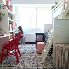 Shared kids' small bedroom with space for playing (room is 14' x 10').