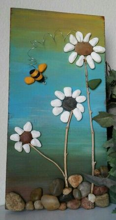 Tablo de fleurs en galets...
