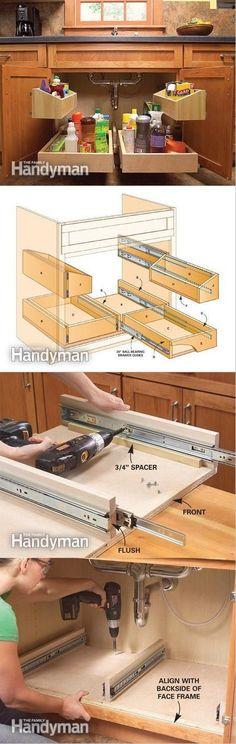 Kitchen storage Countertop - How to Build Kitchen Sink Storage Trays.