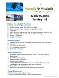 Free Download Of A Beach Vacation Packing List  Beach Vacation