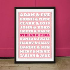 Poster Personalizzabile Coppie Famose. Una deliziosa idea romantica per celebrare tutte le coppie!