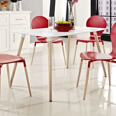 Field Dining Table In White Modway Furniture Dining Tables Dining Tables Kitchen & Dining White Dining Table, Contemporary Dining Table, Small Dining, Dining Table In Kitchen, Dining Set, Dining Furniture, Home Furniture, Dining Chairs, Mid Century Dining